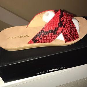 Red snake print sandals